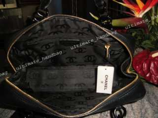 AUTH CHANEL BLACK CAVIAR TOTE DISCONTINUED EXCELLENT