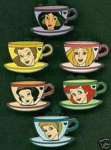 DISNEY PIN HIDDEN MICKEY PRINCESS TEA CUP (6) PIN SET
