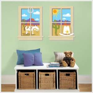 New Baby Boy Nursery OLD WEST WINDOWS WALL DECALS Cowboy Stickers