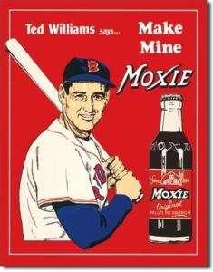 Ted Williams Moxie Baseball Retro Metal Tin Sign