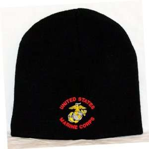 United States Marine Corps Embroidered Skull Cap   Black