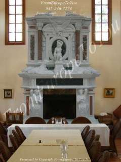 MONUMENTAL HAND CARVED FIGURAL MARBLE FIREPLACE MANTEL