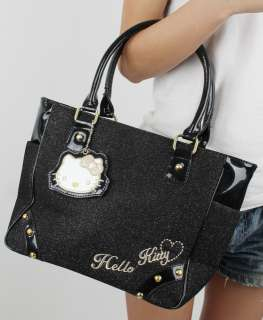 Black hello kitty KT w/mirror tote shoulder bag handbag
