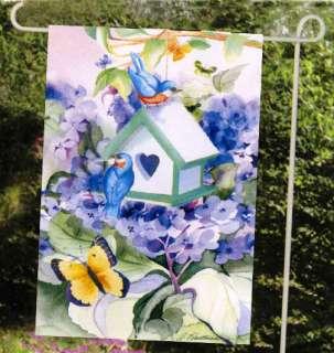 MINI FLAG BLUE BIRDS Flowers Heart Summer Garden BANNER