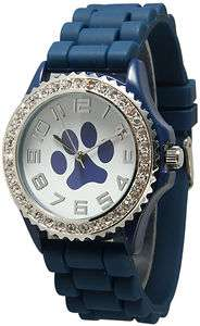 NEW Geneva Paw Navy Blue SILICONE RUBBER JELLY WATCH With CRYSTALS
