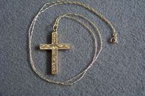 ANTIQUE 10 K GOLD FANCY ETCHED CROSS PENDANT NECKLACE