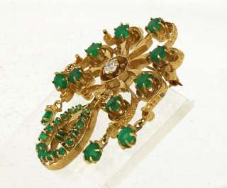 VINTAGE 14K GOLD GREEN ONYX DIAMOND VINTAGE PIN BROOCH