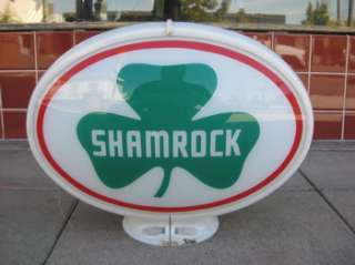 Vtg 50s SHAMROCK GASOLINE GAS PUMP OVAL GLASS GLOBE SIGN SERVICE