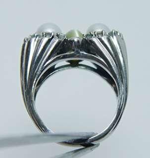 Antique Platinum Chrysoberyl Cats Eye Diamond Ring 14gr HEAVY Estate