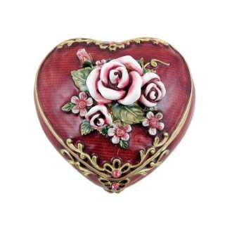 Victorian Pink Rose Heart Shaped Trinket Jewelry Box Burgundy Red 3
