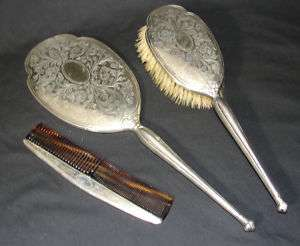 Ornate Sterling Silver Dresser Set, Mirror Brush 1919