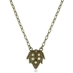 Sorrelli Water Lily Crystal Accent Delicate Leaf Gold Tone Pendant
