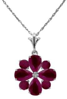 14K. White Gold Natural Red Ruby Gemstones Flower Pendant 18 Inch