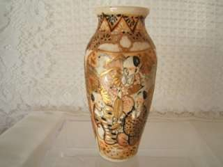 Vintage Antique Small Gilded Japanese Satsuma Vase w Raised Beading