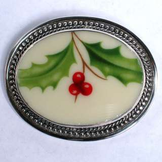 Broken China Sterling Brooch Pin Lenox Holiday Holly 30