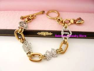 Auth Juicy Couture Goldtone Pave Luxury Heart Charm Bow Crown Bracelet
