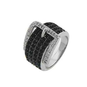 Sterling Silver 17mm Black & White Buckle Ring Rhodium Plated Gift