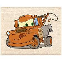 Wood Mounted Rubber Stamp   Cars Tow Mater   EK Success
