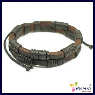 New Leather Hemp Surfer Tribal MultiWrap Wrist Bracelet