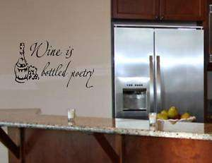 WINE IS BOTTLED POETRY Wall quotes decals lettering art