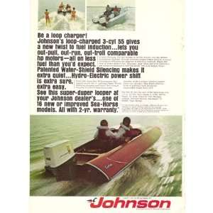 1969 Johnson Loop Charged 55 Motor / Carlson Racing Boat Print Ad
