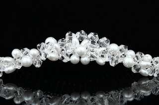 Clear Crystal Bead Faux Pearl Wedding Tiara Hair Comb FC039