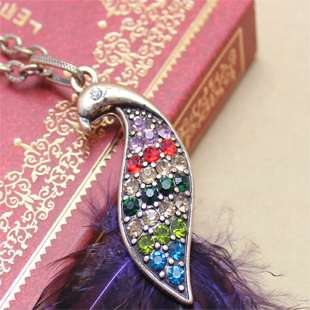 Vintage Style Peacock colorful diamondlong Necklace Shipping Free