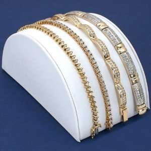 White Leather Bracelet Half Moon Display Ramp Stand 5