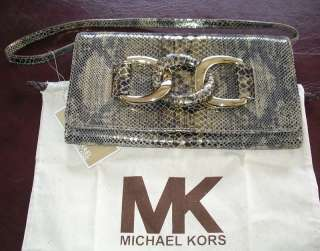 Michael KORS ID Chain Bronze Leather Clutch Bag $426
