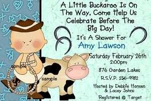 COWBOY BABY SHOWER Invitations  Western  Many Designs
