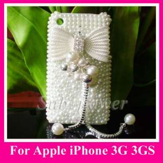 3D Rhinestone Full white BOW Bling Pearl hard Case cover for iPhone 3G