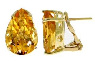Pear Shaped Natural Citrine Gemstones Set of Necklace, Earrings & Ring