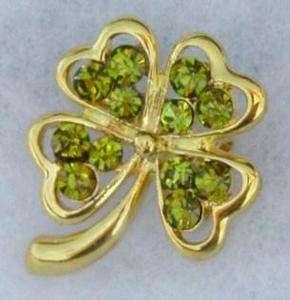 Gold Green Crystal Rhinestone Four 4 Leaf Clover Lapel Pin Brooch St