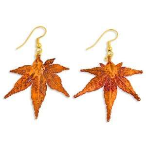 Iridescent Copper Dipped Japanese Maple Leaf Dangle Earrings: Jewelry