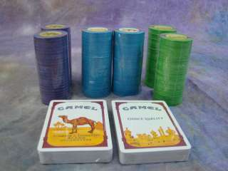 Joe Camel Collectible Lot Ashtray and Poker Chips & Playing Cards Set