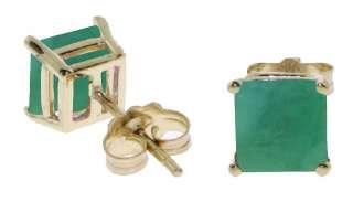 Princess Cut (Square) Natural Green Emerald Stud Earrings 14K. Solid