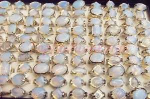 Lot 50PCS natural Pink Quartz stone silver ring MIXED