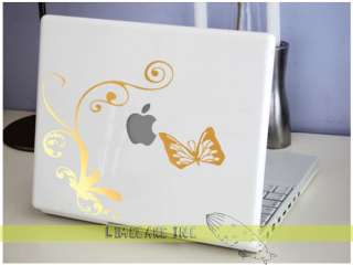 Unique Pinstripe Vine & Butterfly Gold MacBook Sticker