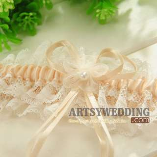 Flower Wedding Garter Set (Ivory+Navy+Wine red+Light blue+Champagne