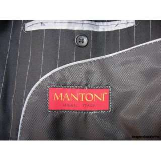 Mantoni $895 Men's Black Super 140s Pinstripe Modern Business Suit