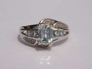 ESTATE EMERALD CUT AQUAMARINE DIAMOND 10K WHITE GOLD FANCY RING N/R