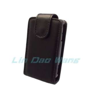 Black Leather Case Pouch + Screen Protector For Sony Ericsson Xperia