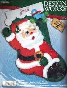 Stocking Kit   5079 Green Stocking with Santa Claus Craft Kit