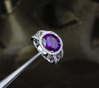 AMETHYST .45ct DIAMOND 14K WHITE GOLD Engagement Wedding RING