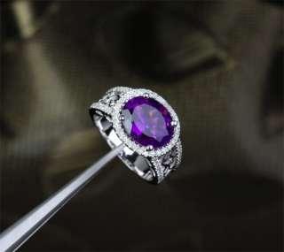 AMETHYST .45ct DIAMOND 14K WHITE GOLD Engagement Wedding RING