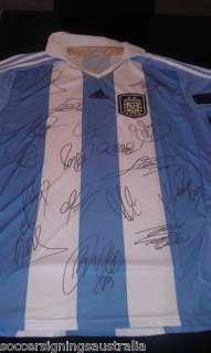 ARGENTINA MESSI TEVEZ SIGNED HOME SHIRT 2011 2012 17 SIGNATURES