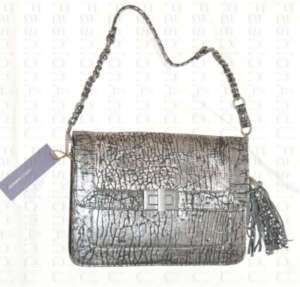 Rebecca Minkoff Belle Silver Blackwash Clutch/Bag/Purse