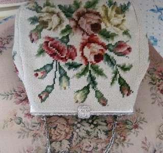 PINK ROSES Needlepoint~MAUD HUNDLEY~Beige 40s VINTAGE Purse/Handbag