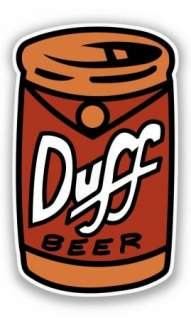 DUFF BEER CAN DECAL STICKER SIMPSONS HOMER BAR PARTY BARNEY