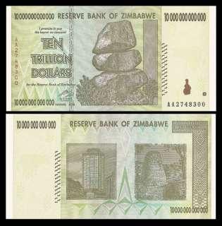 10 DOLLAR BILL PAPER MONEY ZIMBABWE TRILLION, US SELER